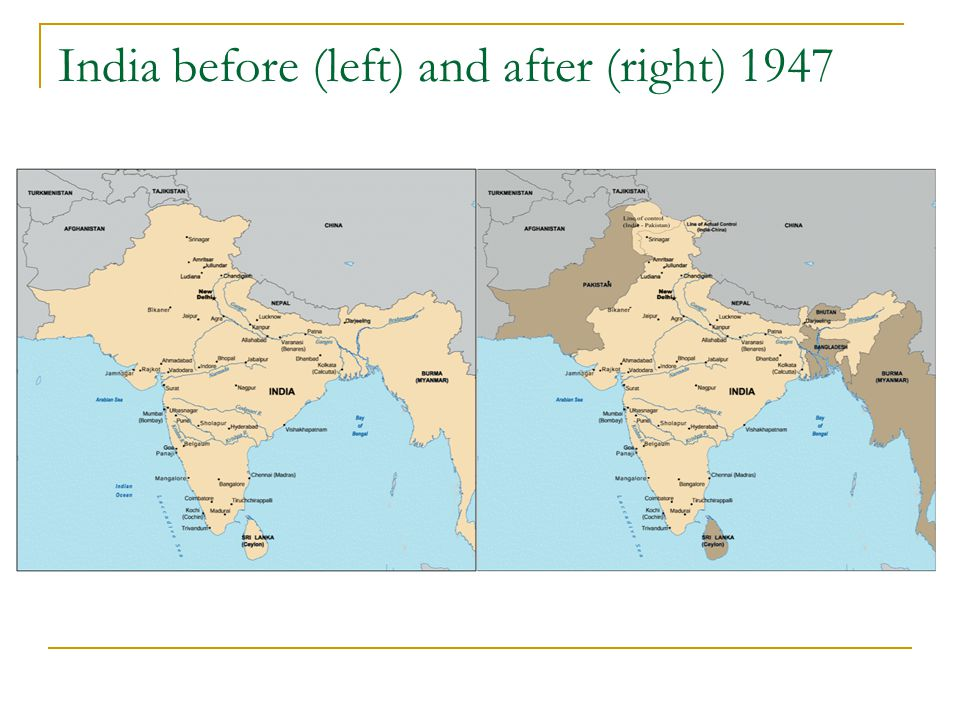 India before (left) and after (right) 1947
