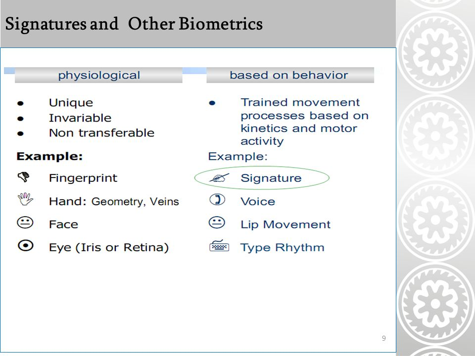 Signatures and Other Biometrics 9