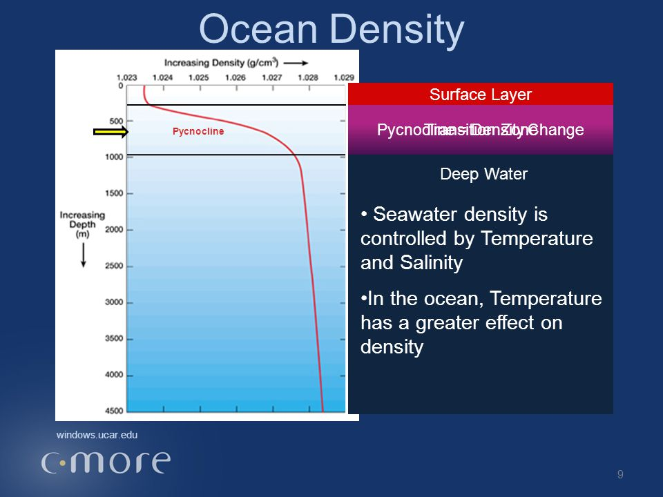 Ocean Density Surface Layer Deep Water Seawater density is controlled by Temperature and Salinity In the ocean, Temperature has a greater effect on density windows.ucar.edu Pycnocline = Density Change Pycnocline Transition Zone 9