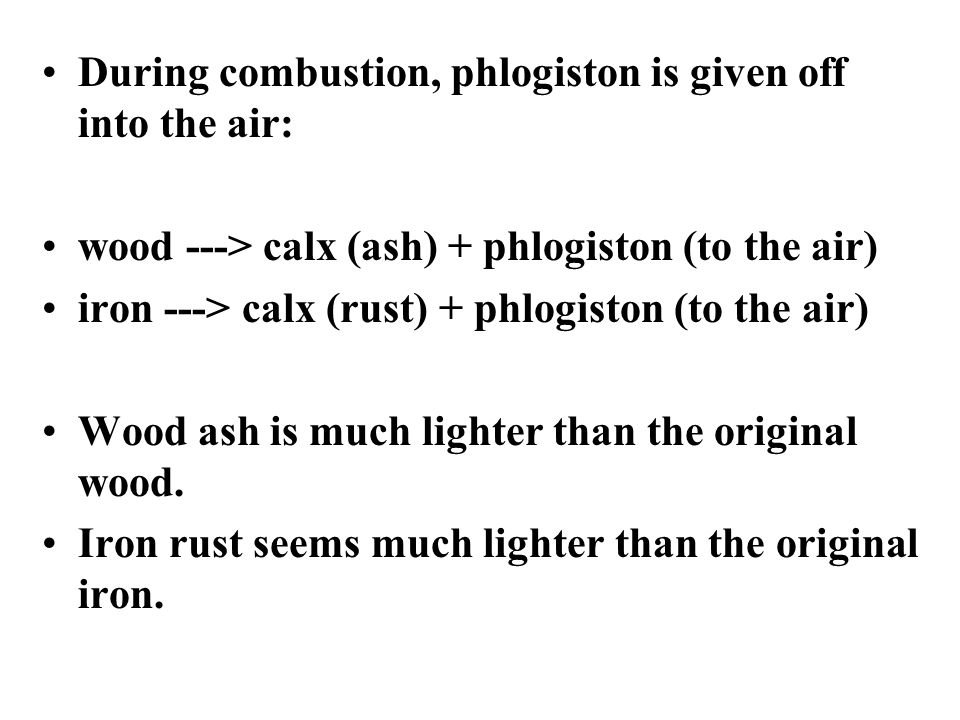 Phlogiston Theory four elements: earth, air, fire, and water