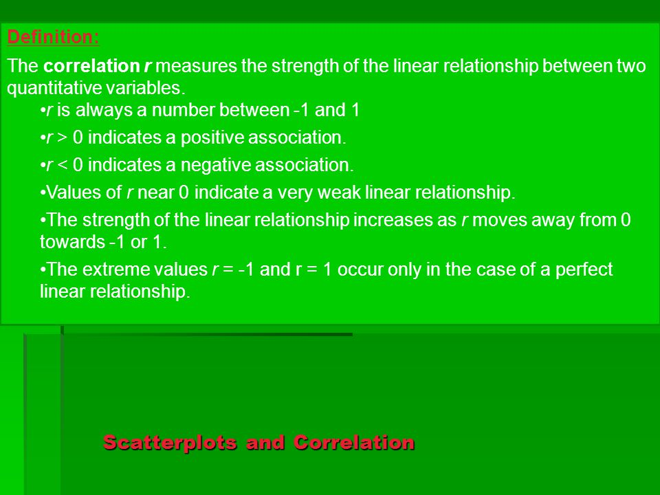 Scatterplots and Correlation Definition: The correlation r measures the strength of the linear relationship between two quantitative variables.