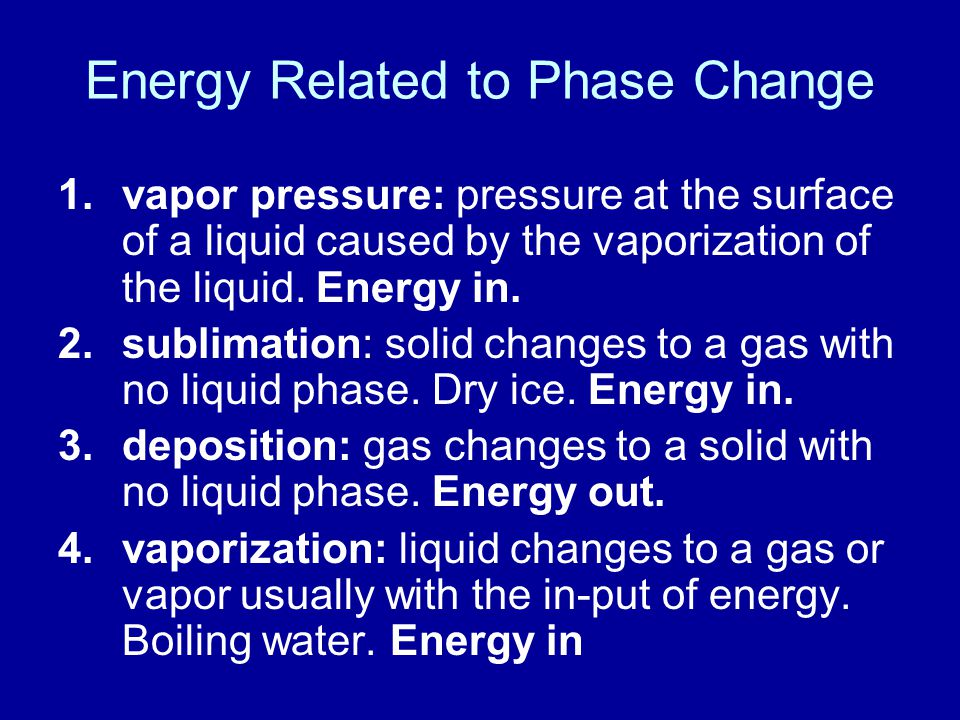 Energy Related to Phase Change 1.vapor pressure: pressure at the surface of a liquid caused by the vaporization of the liquid.