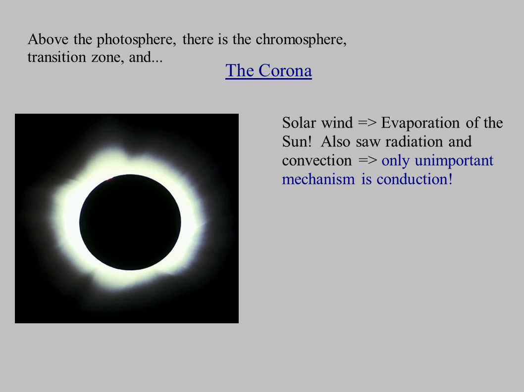 Above the photosphere, there is the chromosphere, transition zone, and...
