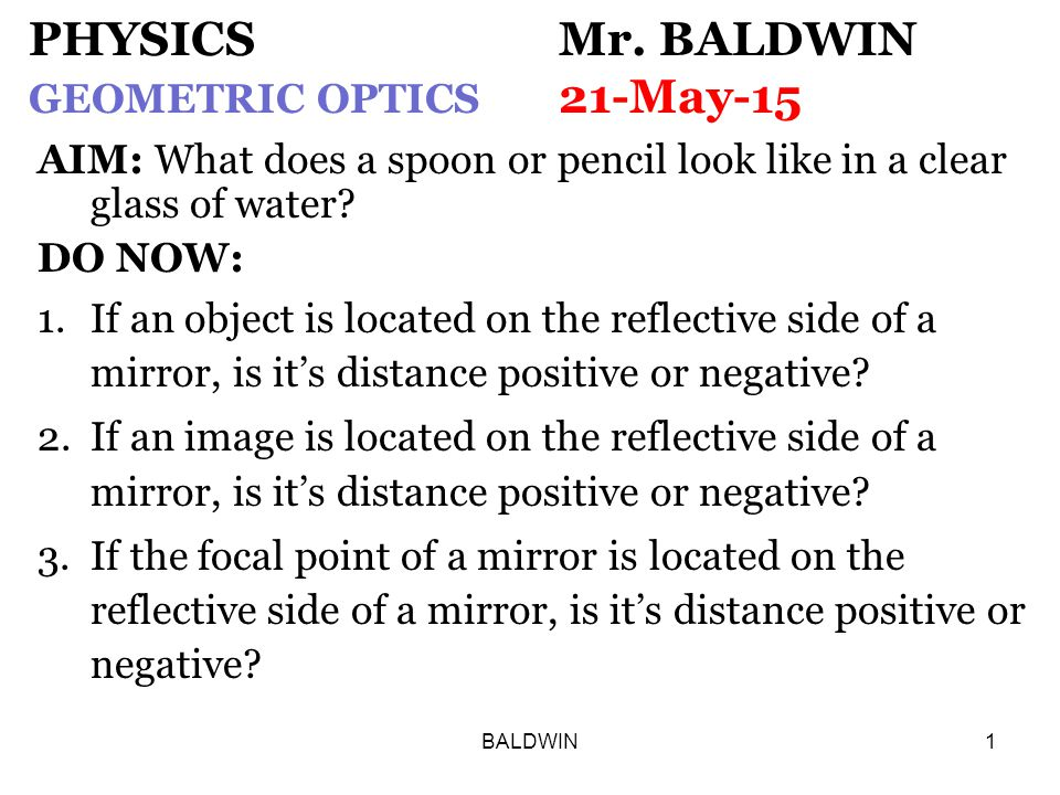 BALDWIN1 PHYSICS Mr.