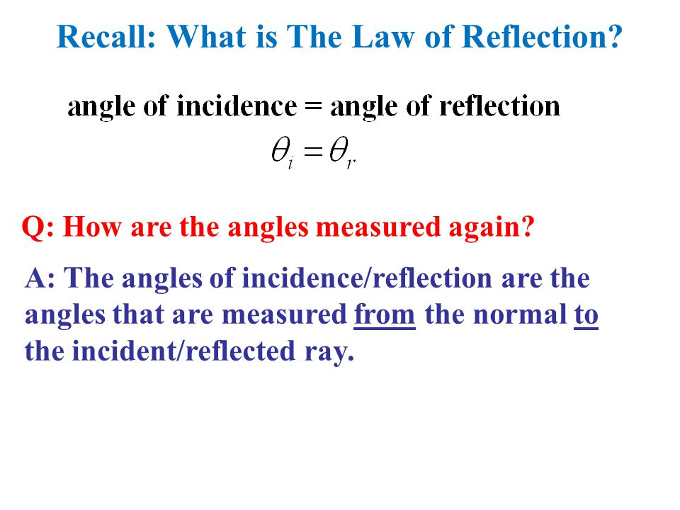 Recall: What is The Law of Reflection. Q: How are the angles measured again.