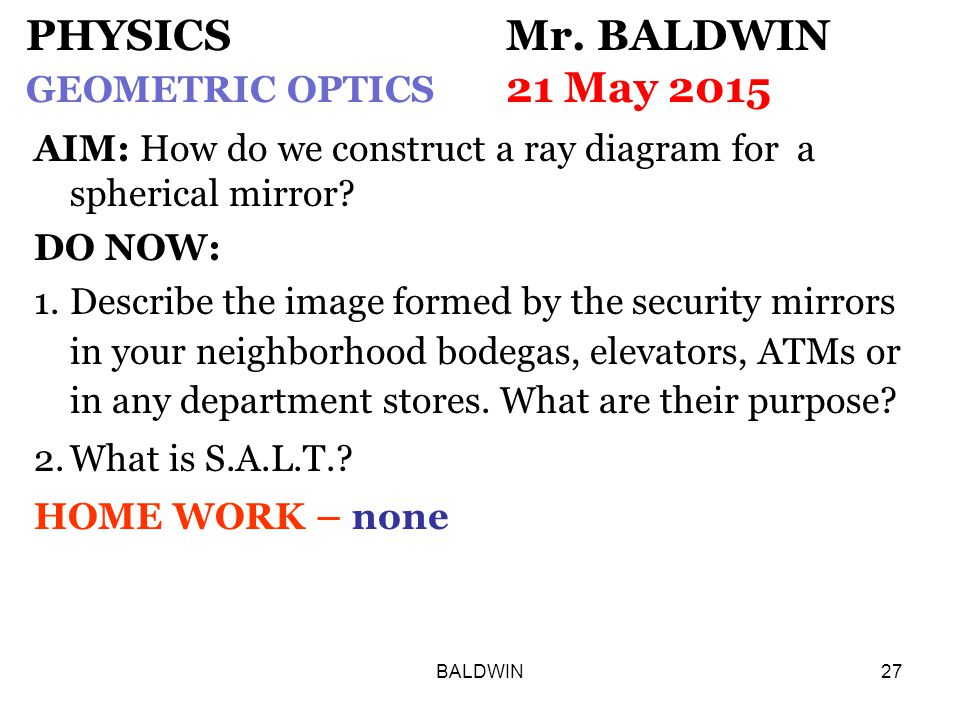 BALDWIN27 PHYSICS Mr.