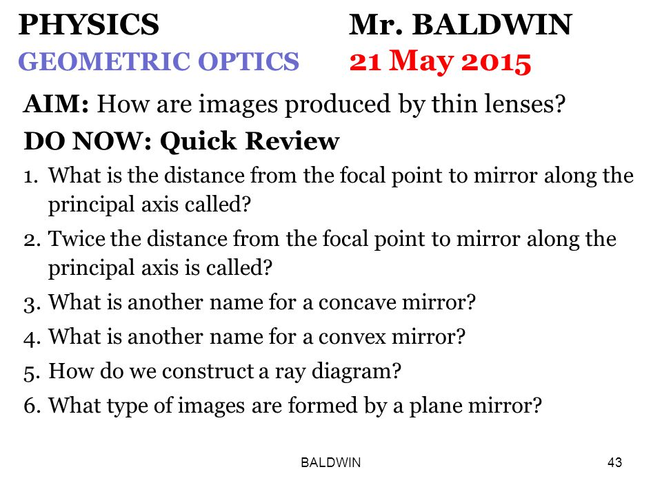 BALDWIN43 PHYSICS Mr.