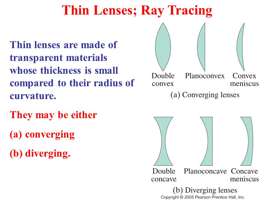 Thin Lenses; Ray Tracing Thin lenses are made of transparent materials whose thickness is small compared to their radius of curvature.