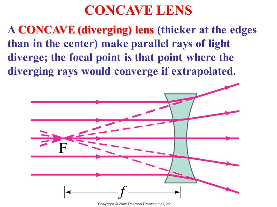 CONCAVE LENS CONCAVE (diverging) lens A CONCAVE (diverging) lens (thicker at the edges than in the center) make parallel rays of light diverge; the focal point is that point where the diverging rays would converge if extrapolated.