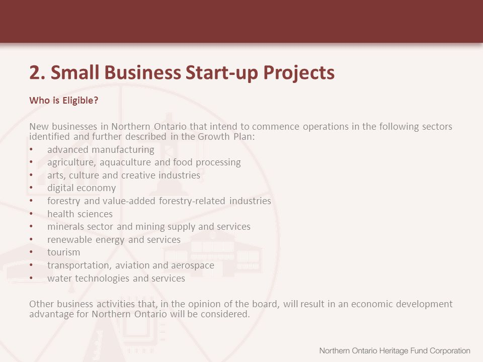 2. Small Business Start-up Projects Who is Eligible.