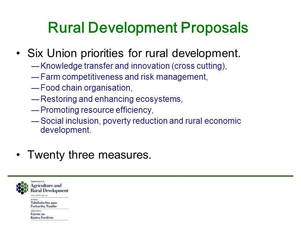 Rural Development Proposals Six Union priorities for rural development.