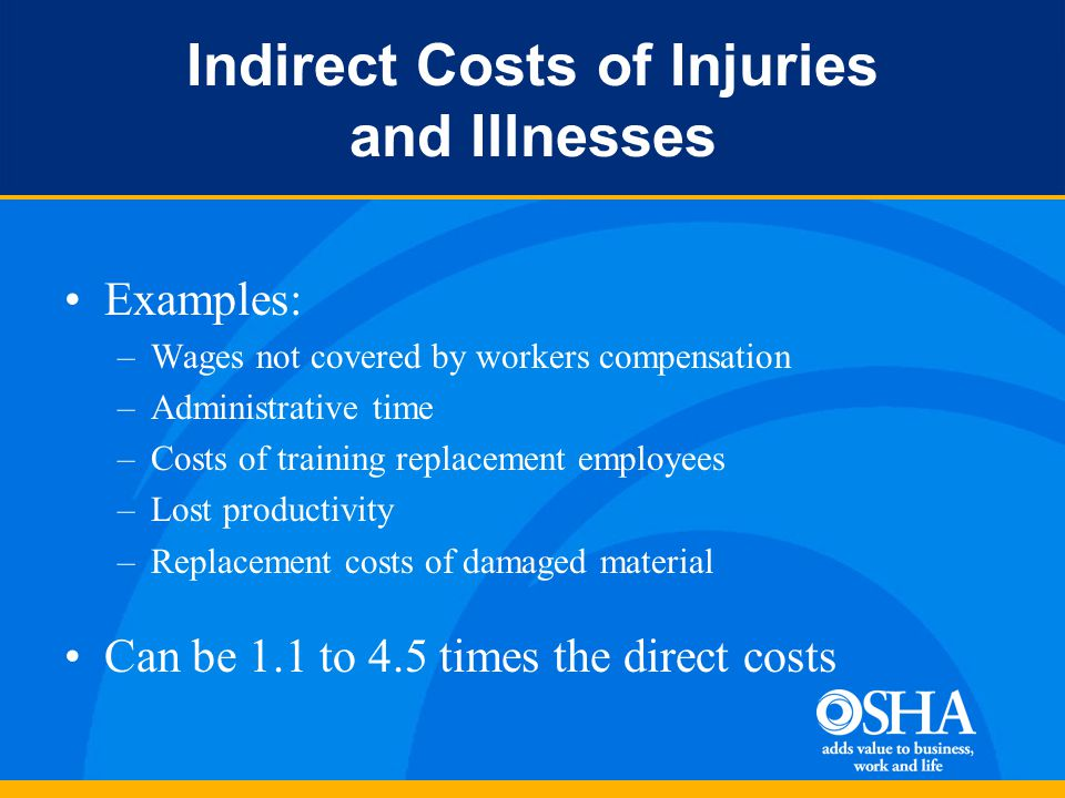 Indirect Costs of Injuries and Illnesses Examples: –Wages not covered by workers compensation –Administrative time –Costs of training replacement employees –Lost productivity –Replacement costs of damaged material Can be 1.1 to 4.5 times the direct costs