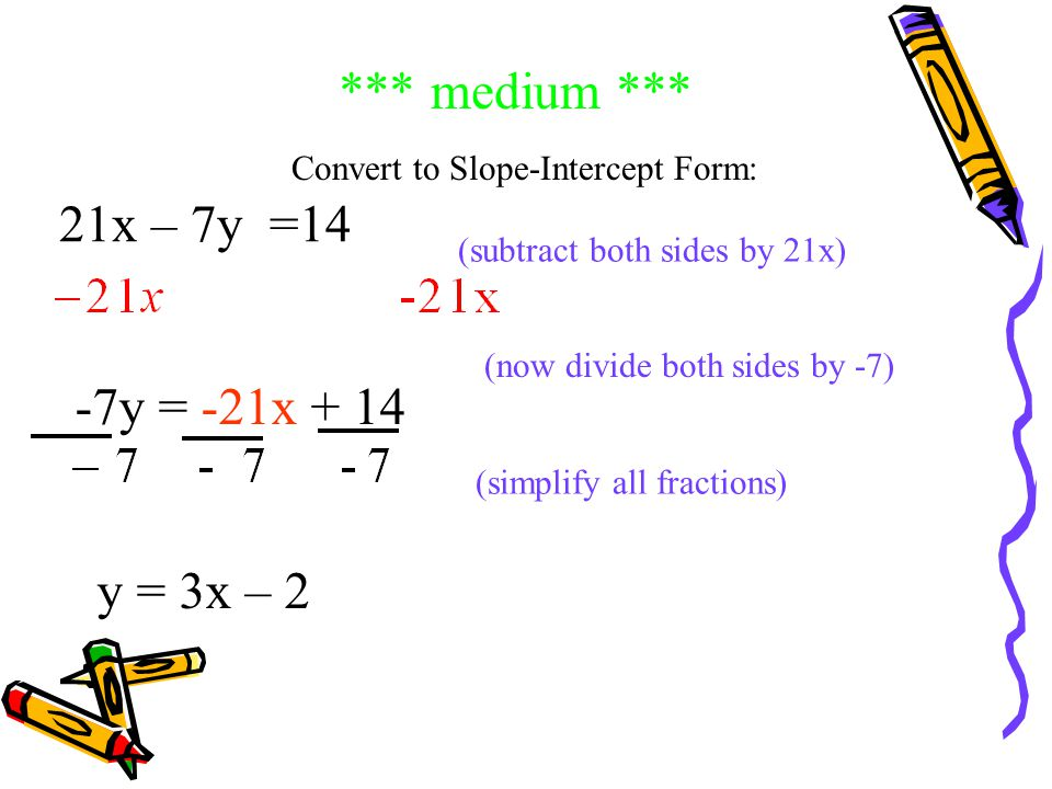 *** Check Your Answer *** -3y = -9x - 12 (divide both sides by -3 to get y alone) (now simplify all fractions) y = 3x y = -9x Slope = 3 Intercept = 4 Wow, you're good at this!!