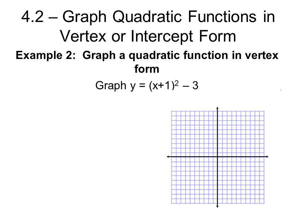 4.2 – Graph Quadratic Functions in Vertex or Intercept Form Example 2: Graph a quadratic function in vertex form Graph y = (x+1) 2 – 3