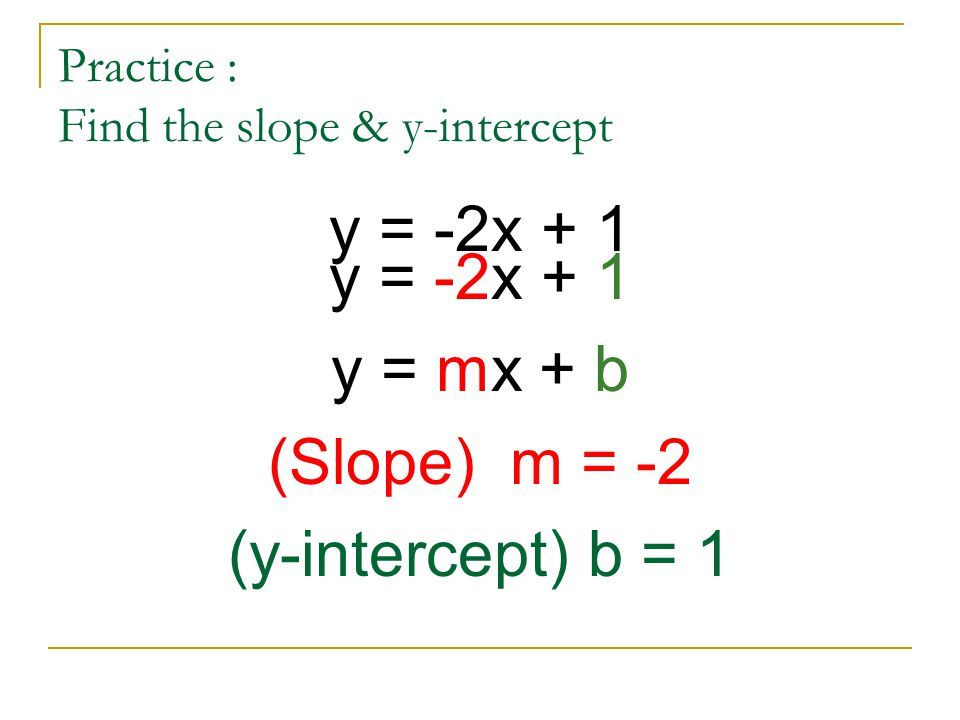 Practice : Find the slope & y-intercept y = -2x + 1 y = mx + b (Slope) m = -2 (y-intercept) b = 1