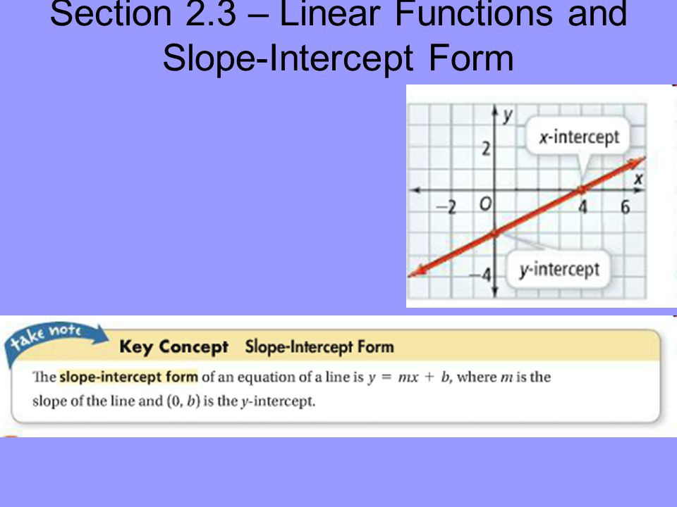 Section 23 Linear Functions And Slope Intercept Form Consider A