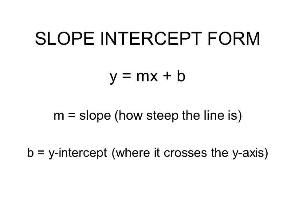 SLOPE INTERCEPT FORM y = mx + b m = slope (how steep the line is) b = y-intercept (where it crosses the y-axis)
