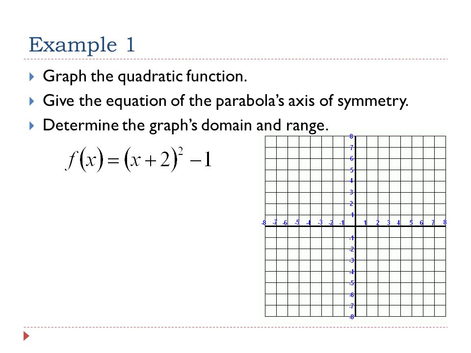 Example 1  Graph the quadratic function.  Give the equation of the parabola's axis of symmetry.
