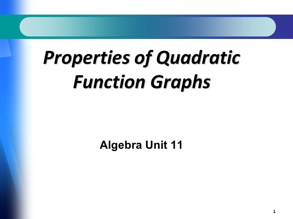 1 Properties of Quadratic Function Graphs Algebra Unit 11
