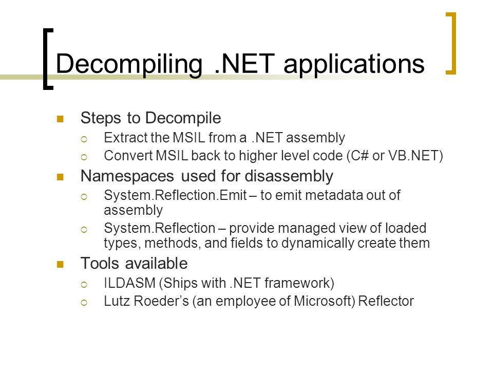 NET IL Obfuscation Presented by: Sarath Chandra Dorbala