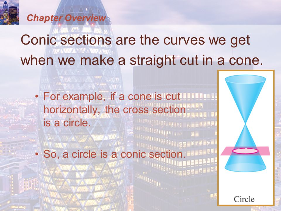 Chapter Overview Conic sections are the curves we get when we make a straight cut in a cone.