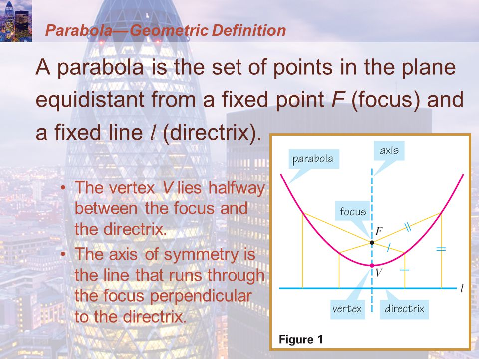 Parabola—Geometric Definition A parabola is the set of points in the plane equidistant from a fixed point F (focus) and a fixed line l (directrix).