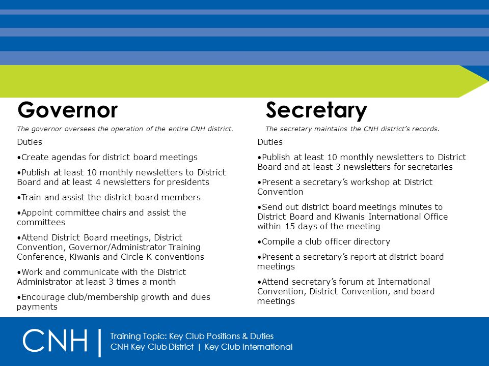 Key Club Positions & Duties Presented by: CNH| Updated by: Policy