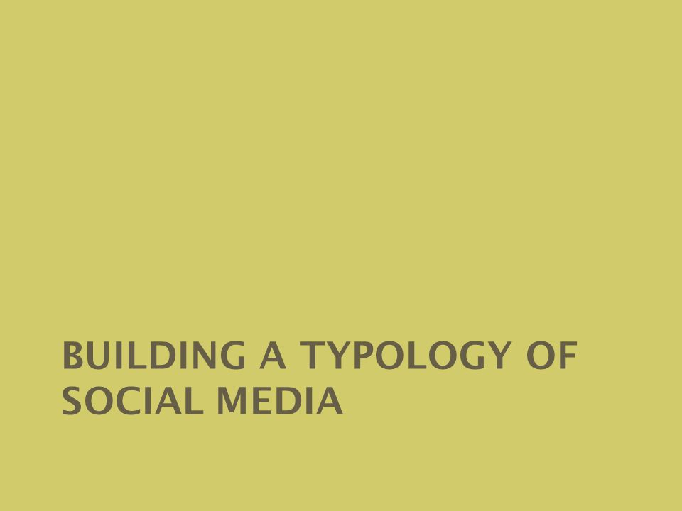 BUILDING A TYPOLOGY OF SOCIAL MEDIA