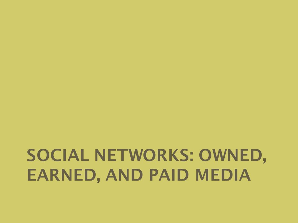 SOCIAL NETWORKS: OWNED, EARNED, AND PAID MEDIA