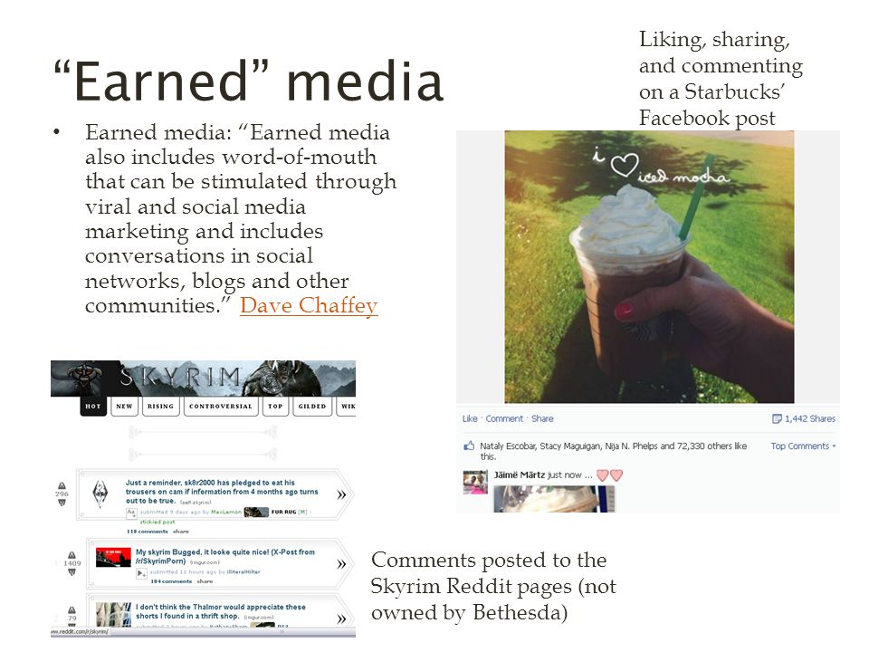 Earned media Earned media: Earned media also includes word-of-mouth that can be stimulated through viral and social media marketing and includes conversations in social networks, blogs and other communities. Dave ChaffeyDave Chaffey Liking, sharing, and commenting on a Starbucks' Facebook post Comments posted to the Skyrim Reddit pages (not owned by Bethesda)