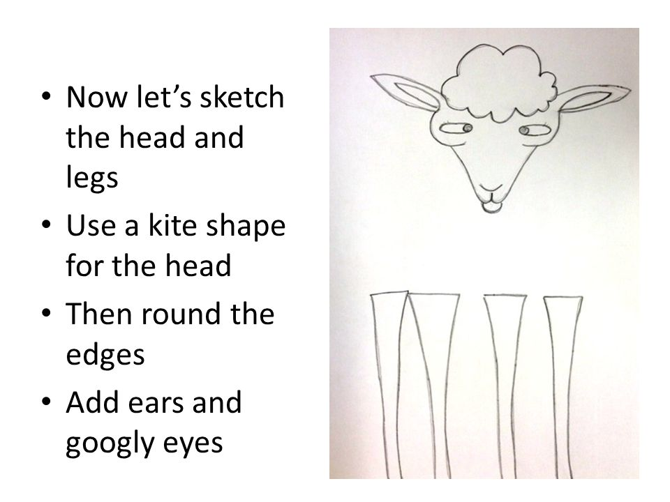 Now let's sketch the head and legs Use a kite shape for the head Then round the edges Add ears and googly eyes