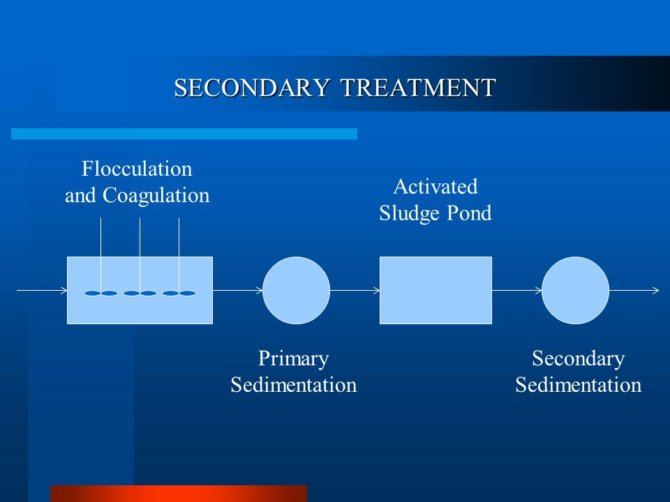 SECONDARY TREATMENT Flocculation and Coagulation Activated Sludge Pond Primary Sedimentation Secondary Sedimentation