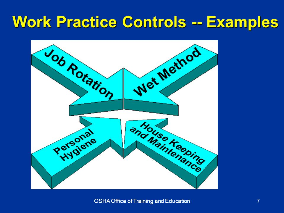 OSHA Office of Training and Education 7 Work Practice Controls -- Examples