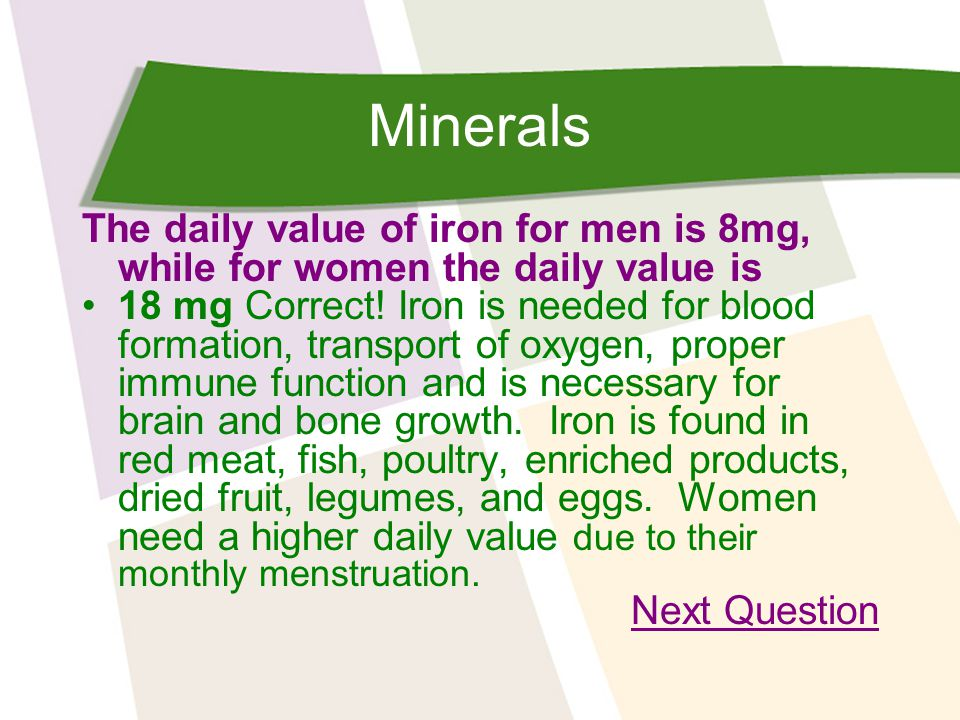 Minerals The daily value of iron for men is 8mg, while for women the daily value is 18 mg Correct.