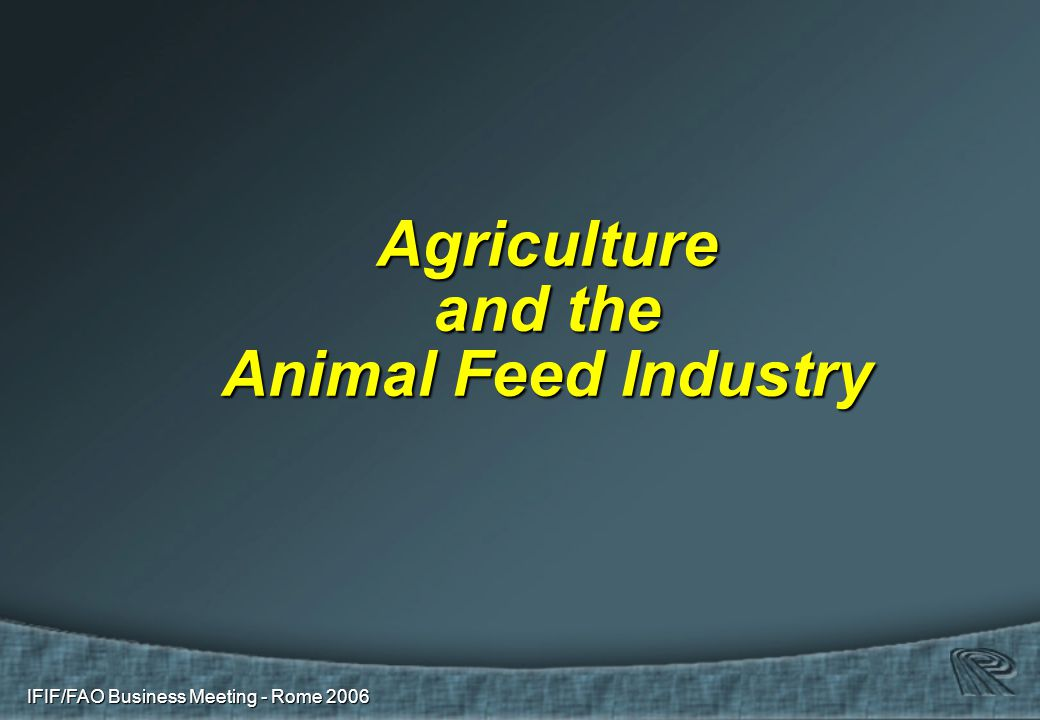 IFIF/FAO Business Meeting - Rome 2006 Agriculture and the Animal Feed Industry