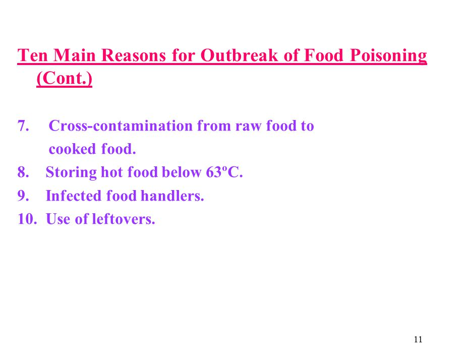 11 Ten Main Reasons for Outbreak of Food Poisoning (Cont.) 7.