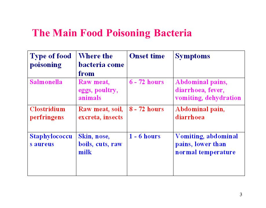 3 The Main Food Poisoning Bacteria