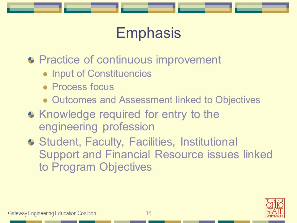 Gateway Engineering Education Coalition14 Emphasis Practice of continuous improvement Input of Constituencies Process focus Outcomes and Assessment linked to Objectives Knowledge required for entry to the engineering profession Student, Faculty, Facilities, Institutional Support and Financial Resource issues linked to Program Objectives