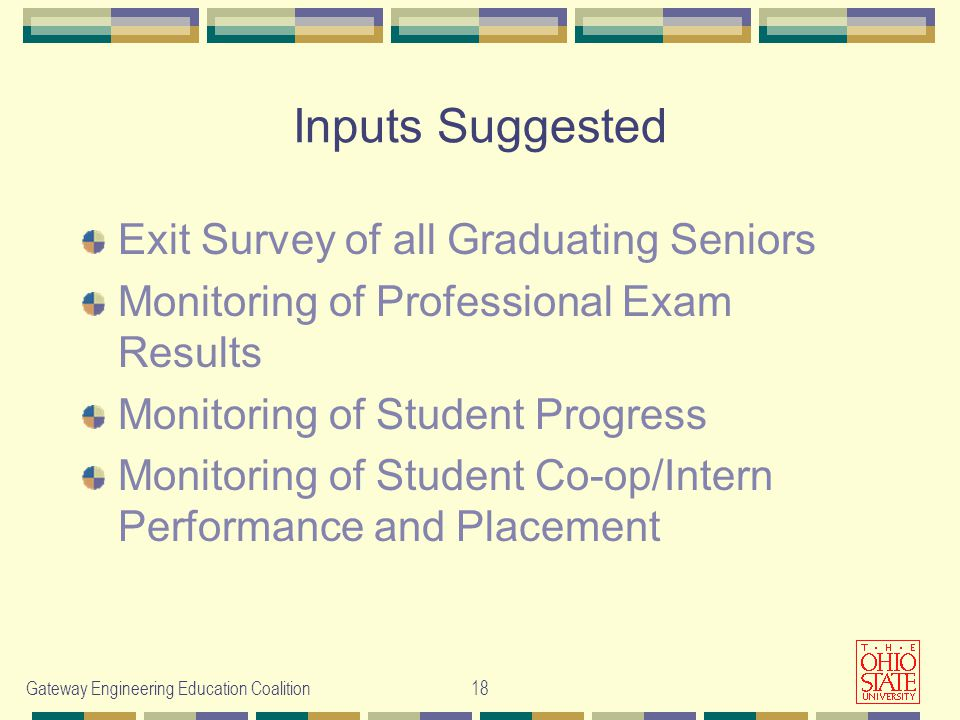 Gateway Engineering Education Coalition18 Inputs Suggested Exit Survey of all Graduating Seniors Monitoring of Professional Exam Results Monitoring of Student Progress Monitoring of Student Co-op/Intern Performance and Placement