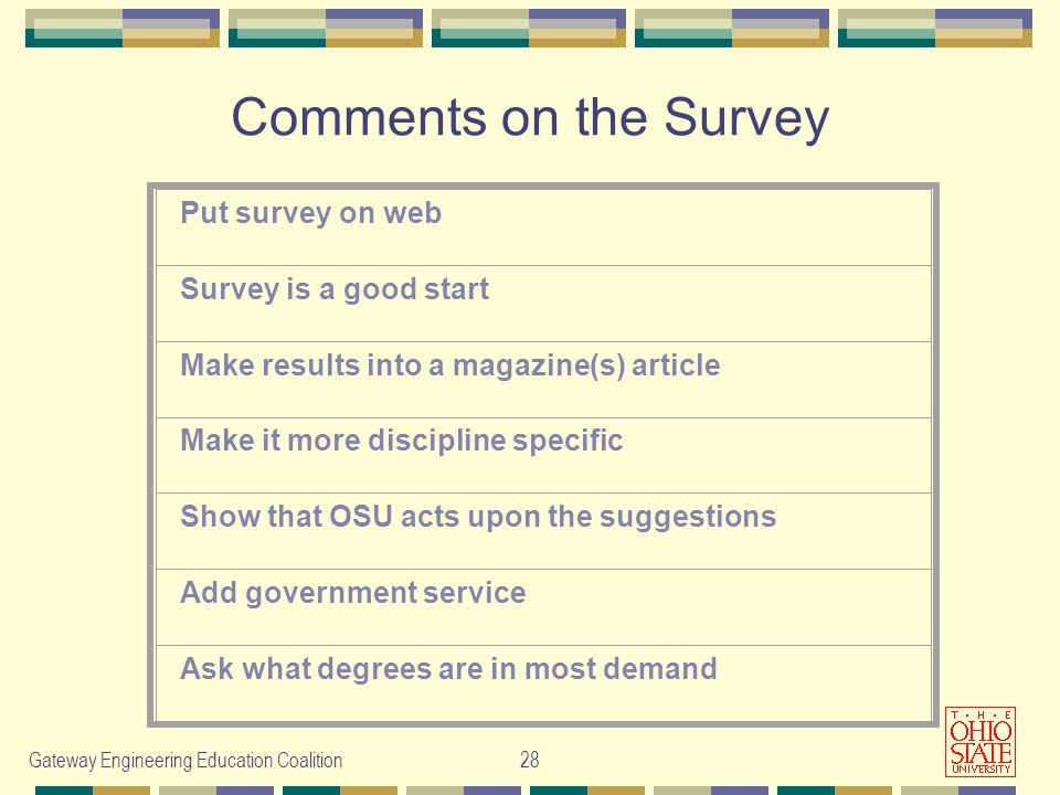 Gateway Engineering Education Coalition28 Comments on the Survey Put survey on web Survey is a good start Make results into a magazine(s) article Make it more discipline specific Show that OSU acts upon the suggestions Add government service Ask what degrees are in most demand