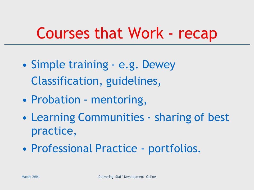 March 2001Delivering Staff Development Online Courses that Work - recap Simple training - e.g.