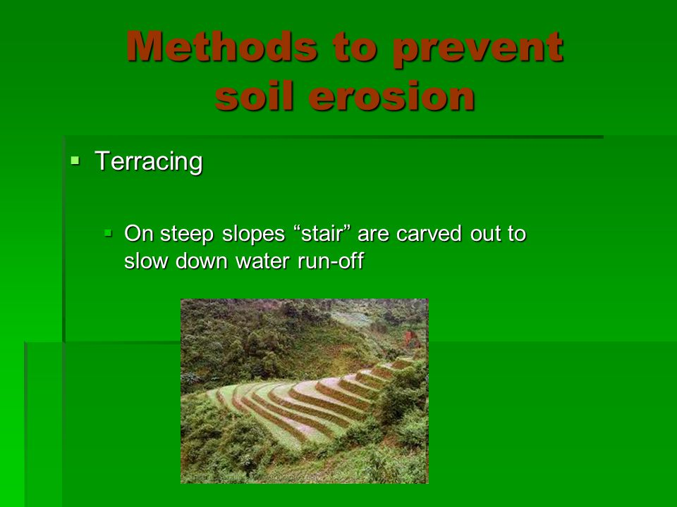 Methods to prevent soil erosion  Terracing  On steep slopes stair are carved out to slow down water run-off