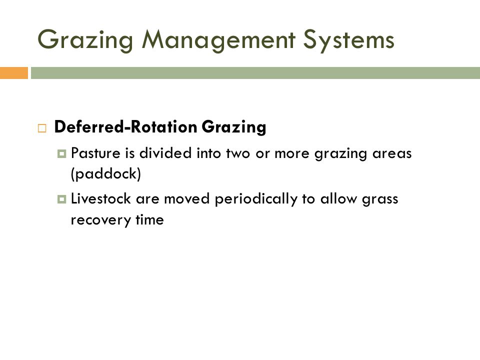 Grazing Management Systems  Deferred-Rotation Grazing  Pasture is divided into two or more grazing areas (paddock)  Livestock are moved periodically to allow grass recovery time