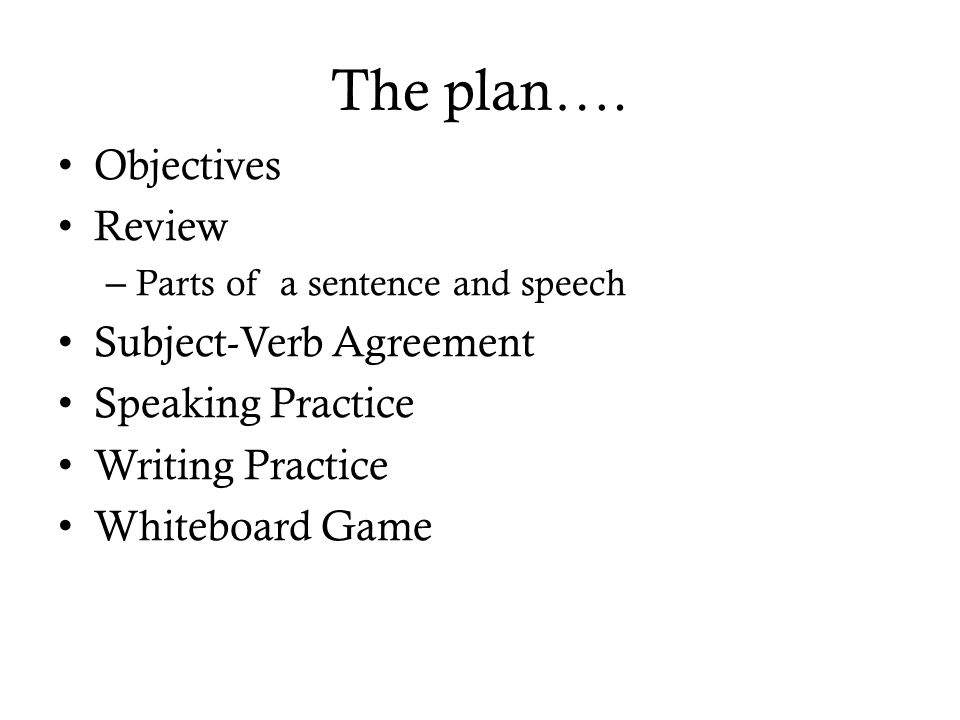 Subject Verb Agreement March 10 Th The Plan Objectives Review