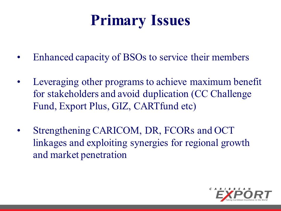 Primary Issues Enhanced capacity of BSOs to service their members Leveraging other programs to achieve maximum benefit for stakeholders and avoid duplication (CC Challenge Fund, Export Plus, GIZ, CARTfund etc) Strengthening CARICOM, DR, FCORs and OCT linkages and exploiting synergies for regional growth and market penetration