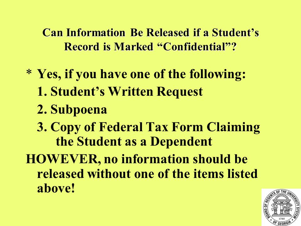 Can Information Be Released if a Student's Record is Marked Confidential .