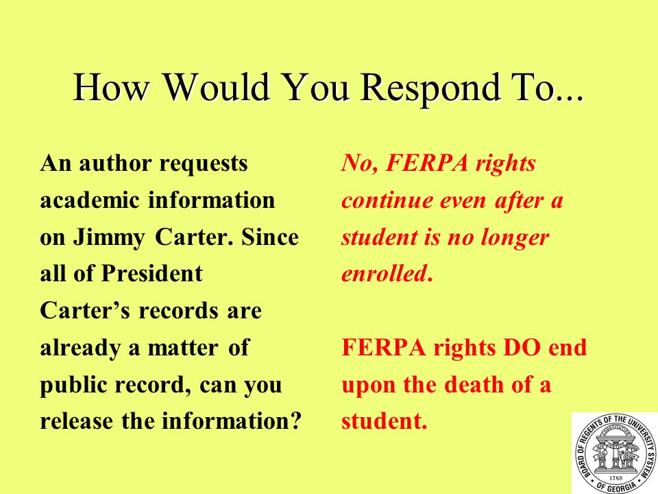 How Would You Respond To... An author requests academic information on Jimmy Carter.