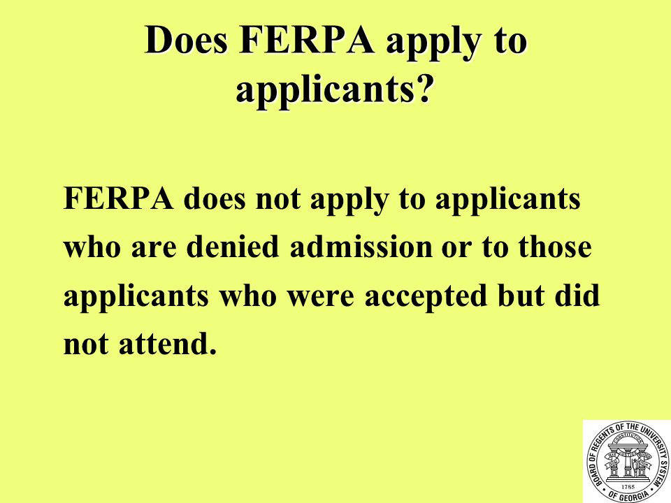 Does FERPA apply to applicants.