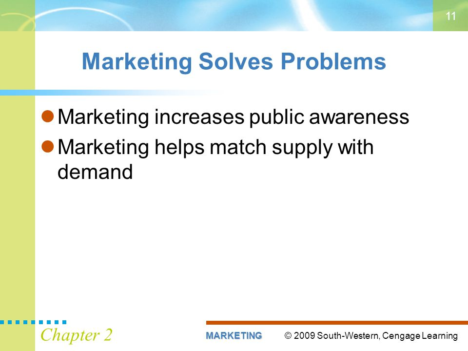 © 2009 South-Western, Cengage LearningMARKETING Chapter 2 11 Marketing Solves Problems Marketing increases public awareness Marketing helps match supply with demand