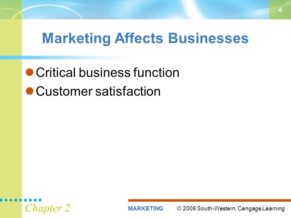 © 2009 South-Western, Cengage LearningMARKETING Chapter 2 4 Marketing Affects Businesses Critical business function Customer satisfaction